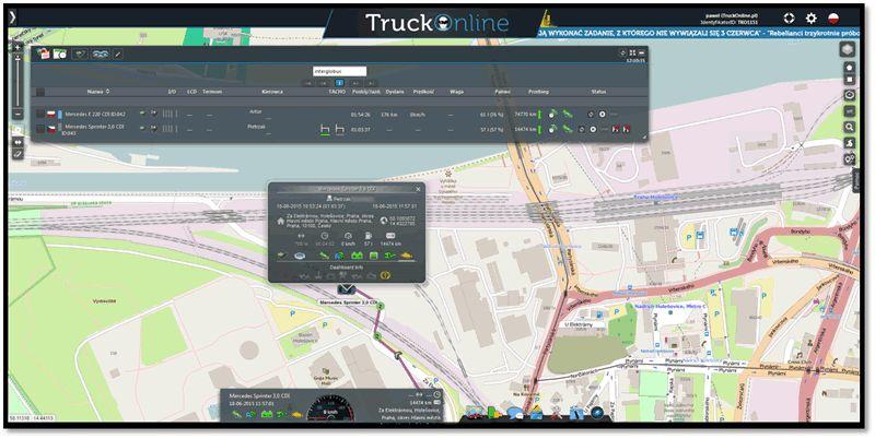 Mapa wsystemie TruckOnline