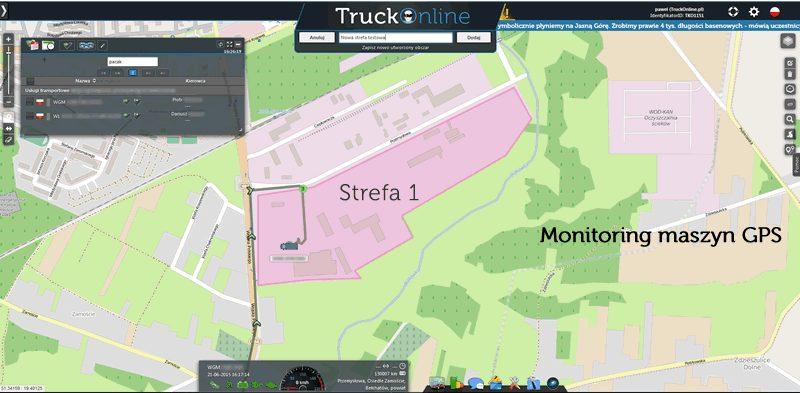 Monitoring GPS maszyn budowlanych - strefy poruszania się.